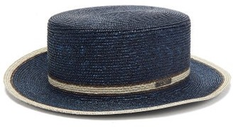 Fendi Striped Straw Boater Hat - Navy