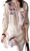 Romacci Women Floral Printed Blouse Loose Casual Long Top Shirt