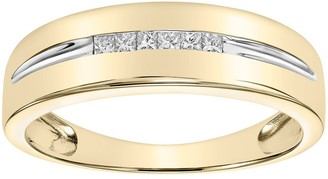 Vera Wang Simply Vera Men's 14k Gold 1/5 Carat T.W. Diamond Channel Ring