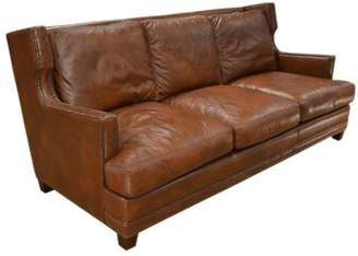 Dunhill Omnia Leather Leather Sofa Omnia Leather Body Fabric: Empire Smoke, Leg Color: Shadow, Nailhead Detail: Small Brass Touching