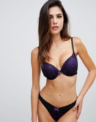 Ann Summers Darcy double boost padded plunge bra in purple
