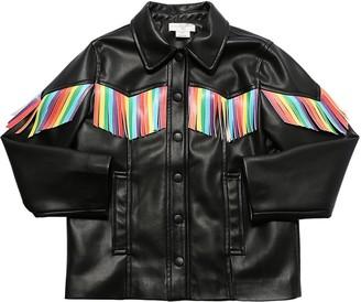 Stella McCartney Kids Faux Leather Jacket W/ Fringes
