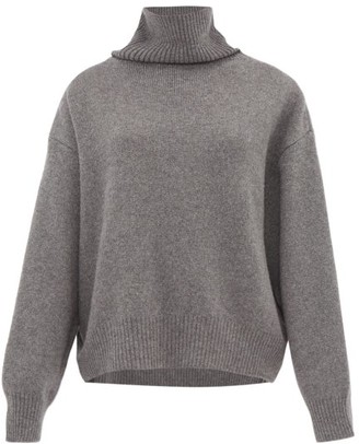 Raey Cropped Displaced-sleeve Roll-neck Wool Sweater - Grey Marl