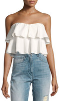 Rebecca Taylor Strapless Tiered Ruffle Crop Top, White