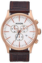 Nixon Sentry Chronograph Crocodile-Embossed Leather-Strap Watch