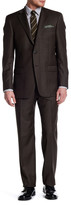 Hart Schaffner Marx Brown Woven Two Button Notch Lapel Wool Suit