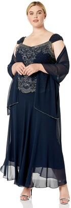 J Kara Women's Plus Size Beaded Cap Sleeve Dress