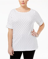 Karen Scott Plus Size Dot-Print Boat-Neck Top, Created for Macy's