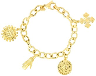 Sphera Milano 14K Yellow Gold Plated Sterling Silver Good Luck Charm Bracelet