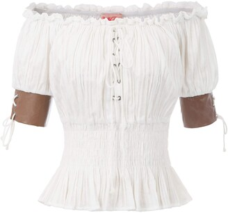 Belle Poque Women's Steampunk Off Shoulder Leather Cuffs Trim Blouse Tops White Size M