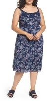 Evans Plus Size Women's Floral Print Crochet Trim Dress