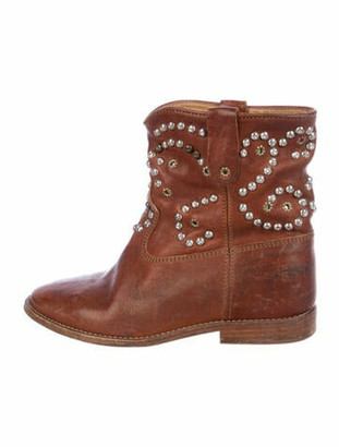 Isabel Marant Leather Studded Accents Boots Brown