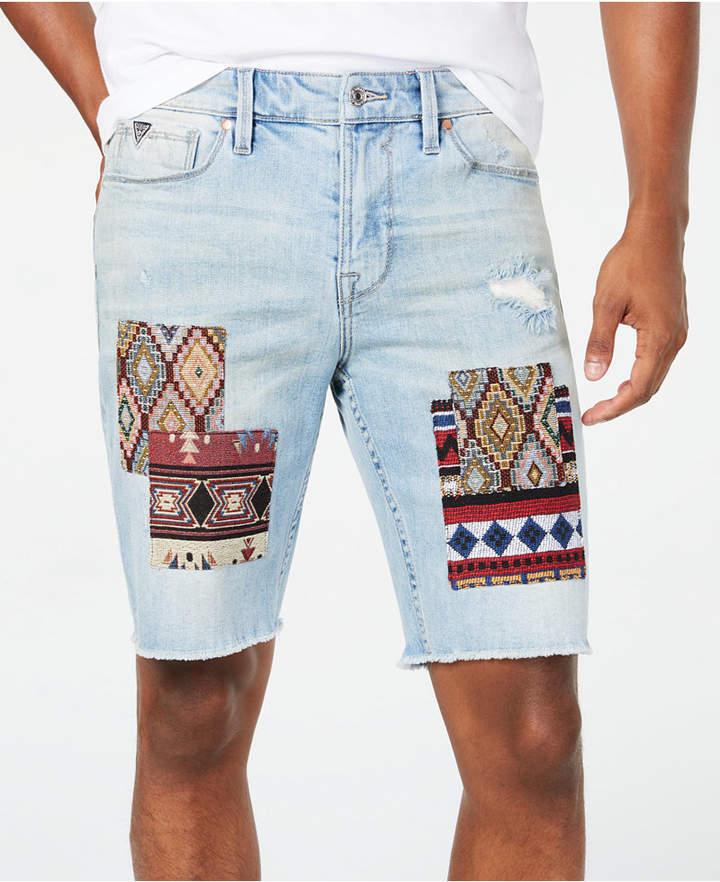 ce5fc114 Men Slim-Fit Stretch Patchwork Destroyed Cutoff Denim Shorts