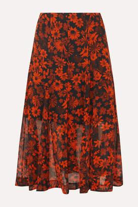 McQ Pleated Floral-print Silk-chiffon Midi Skirt - Orange