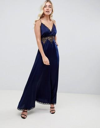 ASOS DESIGN satin and lace trim cami slip maxi dress