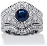 Seta Jewelry 2.83 Tcw Cubic Zirconia And Lab Created Sapphire 3-piece Bridal Set Platinum Over Silver.
