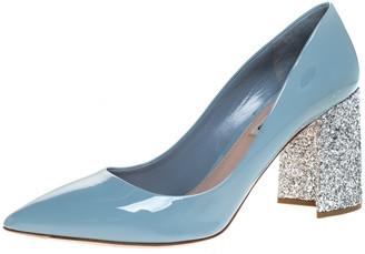 Miu Miu Grey Patent Leather Glitter Heel Pointed Toe Pumps Size 40.5