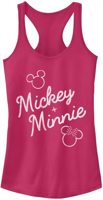 Licensed Character Juniors' Disney Mickey Plus Minnie Mouse Outline Tank
