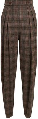 Alberta Ferretti High-Rise Plaid Trousers