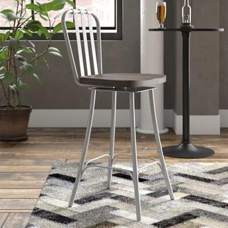 "Trent Austin Design Lake Forest Bar & Counter Swivel Stool Seat Height: Bar Stool (29.5"" Seat Height), Frame Color: Glossy Gray, Seat Color: Medium Da"