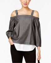 NY Collection Chambray Cold-Shoulder Layered-Look Top
