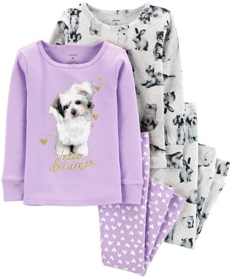 Carter's Toddler Girl 4-Piece Dog Snug Fit Cotton PJs