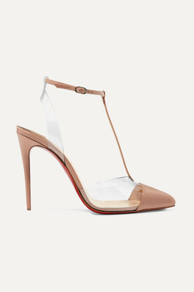 Christian Louboutin Nosy 100 Patent-leather And Pvc Pumps - Neutral