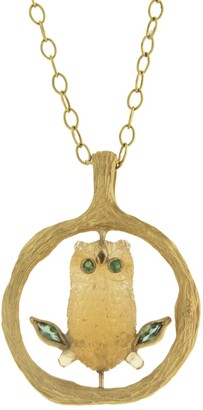 Cathy Waterman Citrine Owl in Tree Yellow Gold Charm