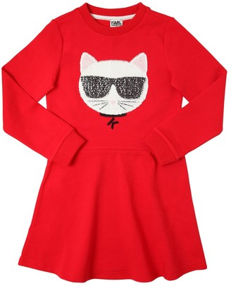 Karl Lagerfeld Paris Choupette Cotton Blend Sweatshirt Dress