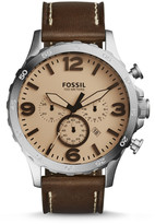 Fossil Nate Chronograph Dark Brown Leather Watch