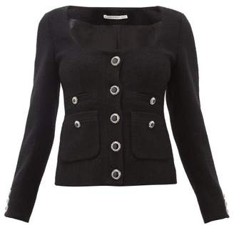Alessandra Rich Single-breasted Wool-blend Boucle Jacket - Womens - Black