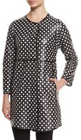 Armani Collezioni Perforated Leather Coat, Black/White