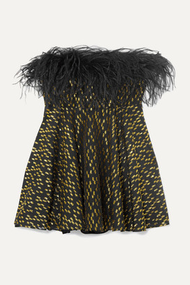 16Arlington Strapless Feather-trimmed Fil Coupe Georgette Peplum Top - Black