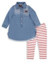 7 For All Mankind Baby's & Toddler's Two-Piece Denim Dress & Pull-on Leggings Set