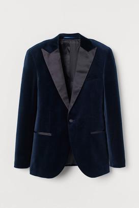 H&M Slim Fit Velvet Tuxedo Jacket - Blue
