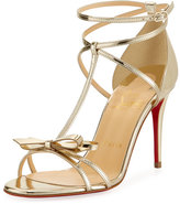 Christian Louboutin Blakissima Metallic Red Sole Sandal, Platine