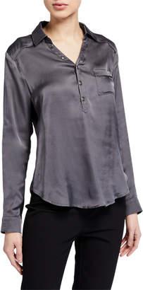 Chaser Silky Henley Shirt, Gray