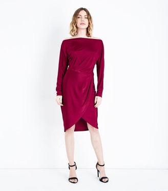 New Look AX Paris Burgundy Wrap Skirt Dress