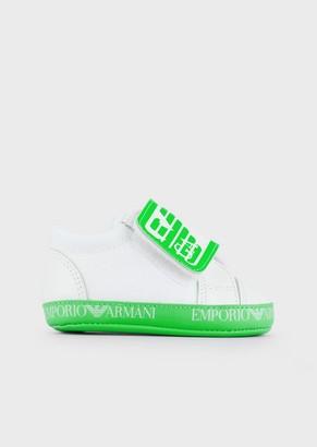 Emporio Armani Leather Sneakers With Logo Strap