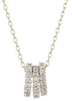 Adina 14K Yellow Gold & 0.14 TCW Diamond Tiny 3 Pave Beads Necklace