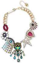 Betsey Johnson Multi-Tone Multicolor Crystal & Imitation Pearl Large Charm Statement Necklace