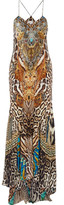 Camilla Warrior Wanderlust Embellished Printed Silk Crepe De Chine Maxi Dress - Tan