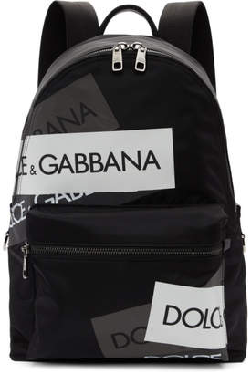 Dolce & Gabbana Black Logo Tape Vulcano Backpack