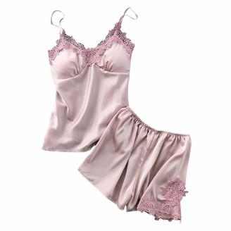 TOPKEAL Womens Sexy Satin Sling Sleepwear Lingerie Lace Nightdress Underwear Nightdress Pajamas Breathable Luxury Comfy Gorgeous Set Pink