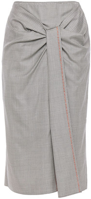 Roland Mouret Aura Gathered Checked Wool And Silk-blend Midi Skirt
