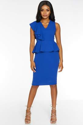 Quiz Petite Royal V Neck Peplum Midi Dress