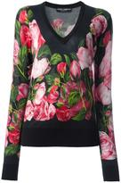 Dolce & Gabbana rose print jumper - women - Silk/Cashmere - 44