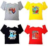 Sesame Street 4 Pack of Elmo Cookie Monster Kids Boys Girls T-Shirts