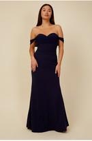 Thumbnail for your product : Little Mistress Bridesmaid Rafaela Navy Bardot Maxi Dress