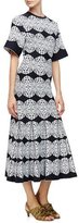 Derek Lam Medallion-Lace Flared Dress, Black/Multi Colors